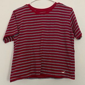 women's red striped hollister top